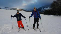 Rían Butler & his dad David skiing this morning near Lough Dan, Wicklow