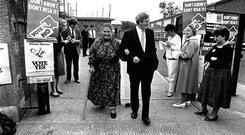 Bitter summer: Garret FitzGerald and wife Joan at a polling station for the referendum on the Eighth Amendment in 1983