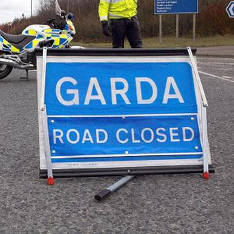 Road closed and diversions in place. Stock image