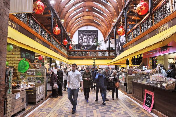 Christmas shoppers in the English Market, Cork city. Photo: Daragh Mc Sweeney
