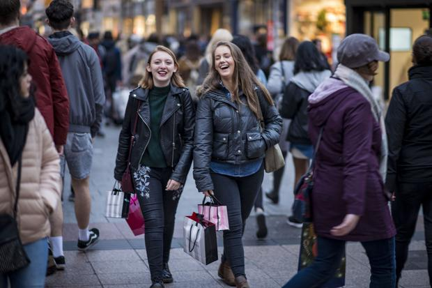 Shoppers on Grafton Street in Dublin over Christmas. Photo: Doug O'Connor