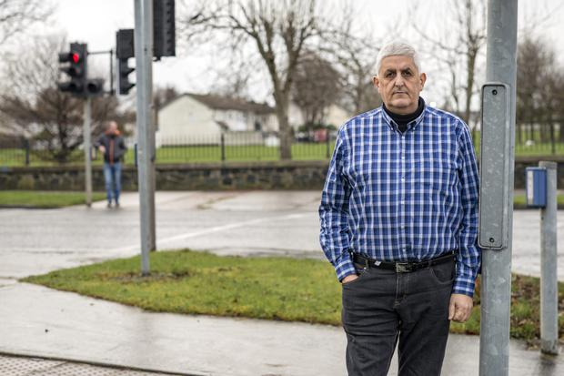 Leo Lieghio at the pedestrian crossing where his daughter Marsia was fatally injured by a hit-and-run driver