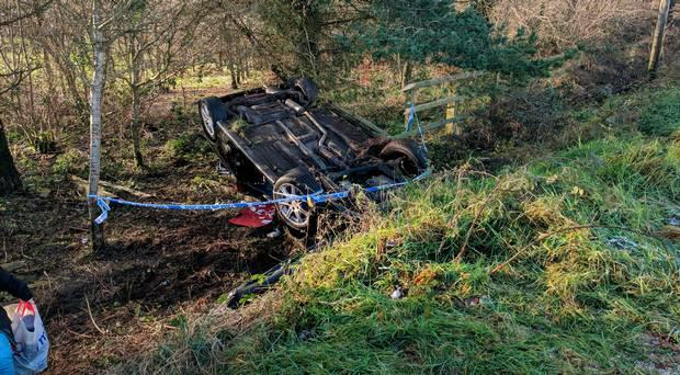 Debbie Armstong escaped with cuts and bruises after her car went into a spin and flipped upside down when she hit black ice in the Craigantlet hills