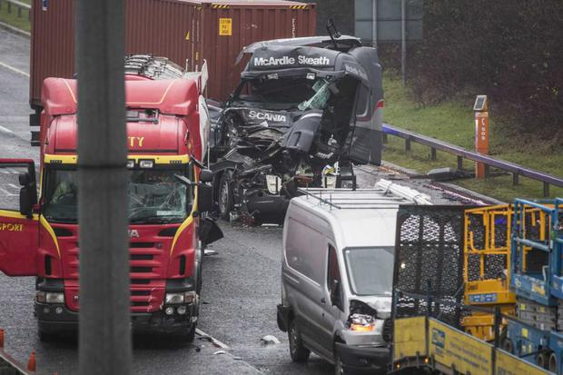 The crash at the entrance to the Port Tunnel on the M1. Photo: Mark Condren