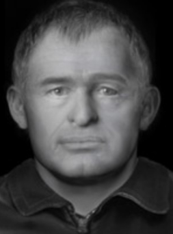 The forensic photofit image of an unidentified man