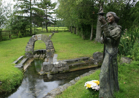 Reverence: The statue of St Brigid in Kildare beside the well named after her