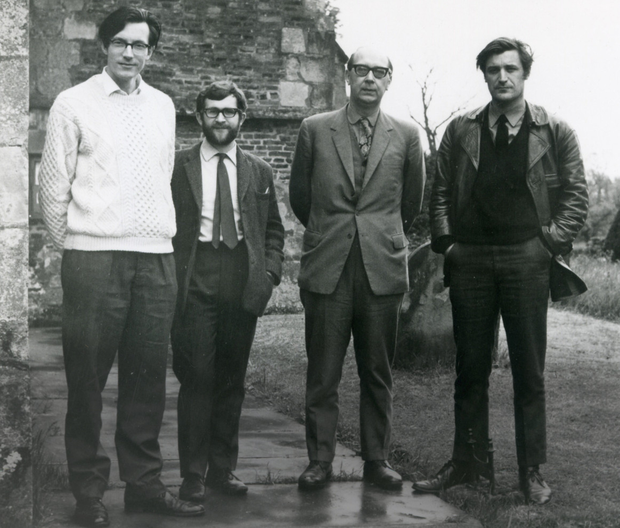 BAND OF POETS: From left, Richard Murphy, Douglas Dunn, Philip Larkin and Ted Hughes in January 1970. Below, Murphy in 1999