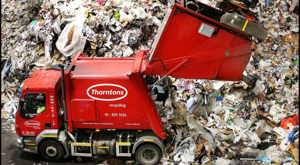 Green bin waste arriving at the Thorntons recycling plant in Dublin. Photo: Steve Humphreys