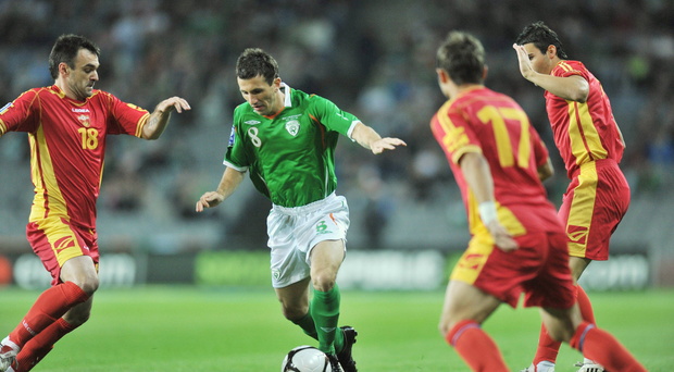 Liam Miller in action for Ireland against Montenegro in a World Cup qualifier at Croke Park in Dublin in 2009. Picture: Sportsfile