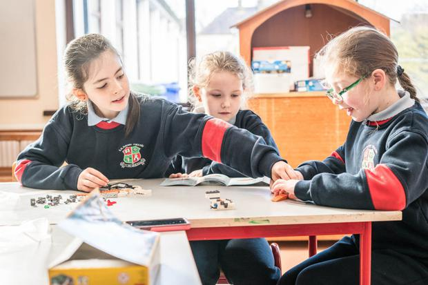 Second class pupils from Attymass NS Sarah Melody, Lucy Roche, and Éabha O'Malley, all aged 8, working together as a team Photo: Keith Heneghan
