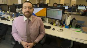'Hitting 30, I wasn't old, but it was now or never, and I was determined to get that job'. Paddy Power at his desk in at Wright Insurances in Wexford town Photo: Patrick Browne