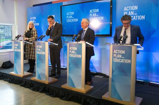 Minister of State Mary Mitchell-O'Connor, Taoiseach Leo Varadkar, Minister for Education and Skills Richard Bruton and Minister of State John Halligan at the launch of the Action Plan for Education 2018 Photo: Collins Dublin, Gareth Chaney