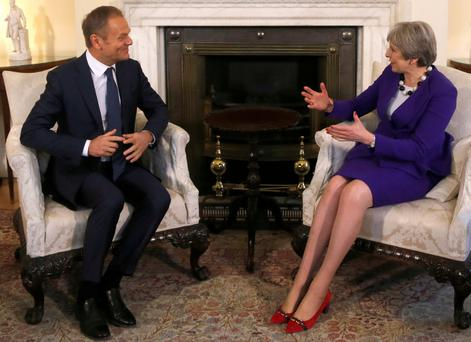 Britain's Prime Minister Theresa May meets with European Union Council President Donald Tusk at 10 Downing Street in London. Photo: Reuters