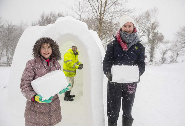 Kyra and Makenzie Molloy with their igloo at Foulksmills, Co Wexford. Photo: Patrick Browne