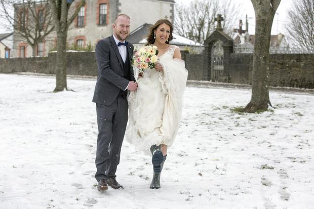 Newly-weds Jeanine Hussey and Damien McCormack