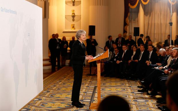 British Prime Minister Theresa May delivers a speech at the Mansion House in London yesterday. Photo: Getty