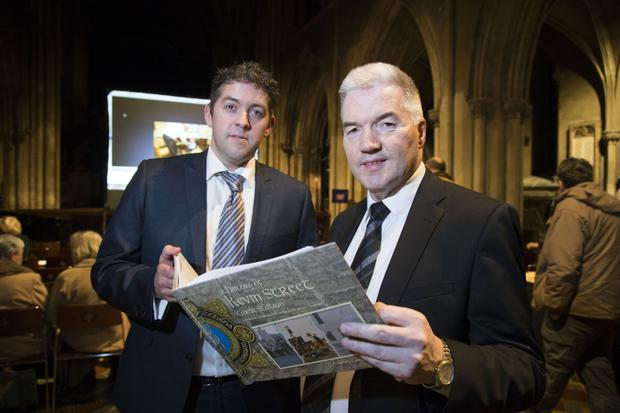 Author Stephen Moore and Superintendent Patrick McMenamin at the launch of 'A History of Kevin Street Garda Station' at St Patrick's Cathedral. Photo: Colin O'Riordan