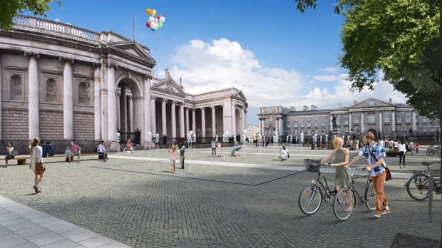 An artist's impression of the final design for the planned College Green plaza in the heart of Dublin, looking towards the Bank of Ireland (Dublin City Council/PA)