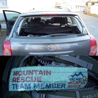 The damage done to the cars Photo: Galway Mountain Rescue