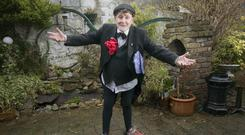 THE MAN WITH THE GAGS: Noel V Ginnity limbers up for his shows in Taylors Three Rock. Photo: Tony Gavin.