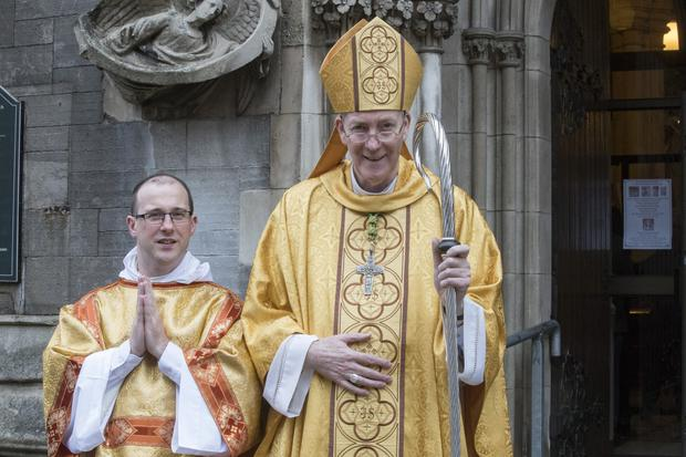 Matthew Farrell with Bishop Denis Nulty at his ordination in St Saviour's Church, Dublin. Photo: Arthur Carron