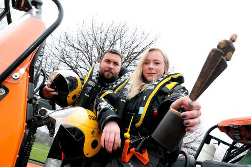 Donnchadh Mac Cobb and Katie Hensey, both volunteers with the Irish Coast Guard – Howth Unit. Photo: Maxwells