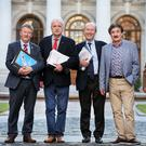 Independent Alliance members Sean Canney, Finian McGrath, Shane Ross, John Halligan and Kevin 'Boxer' Moran at Government Buildings. Photo: Steve Humphreys