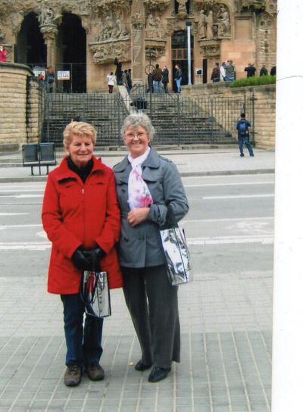 Nuala Barry (left) with Eleanor Walsh in Barcelona in 2009