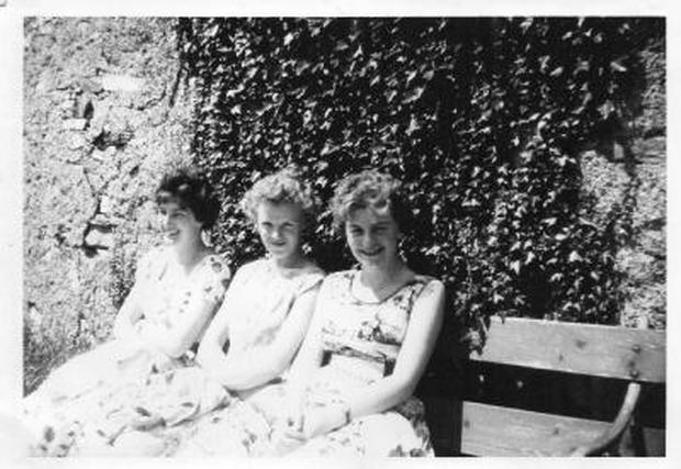 Ritann Allen, Eleanor Walsh and Nuala Barry on a Legion of Mary outing to Inchydoney in 1960