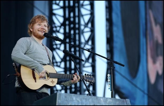 Ed Sheeran Performing On Stage Last Night. Photo: Steve Humphreys
