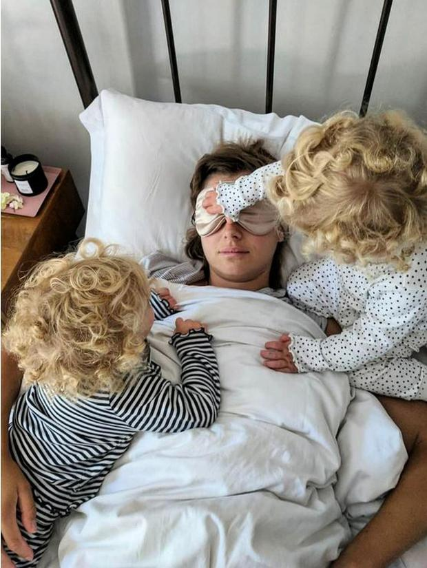A post of Mrs Hooper and her twin daughters on Instagram