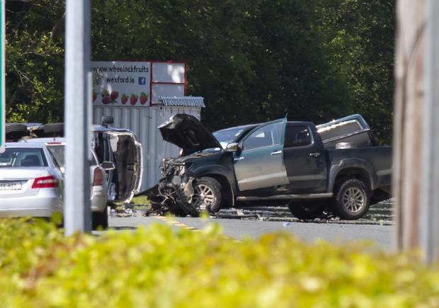 The scene at yesterday's fatal accident, the latest in a long list of fatal or serious collisions at Scarawalsh near Enniscorthy. Picture: Mary Browne