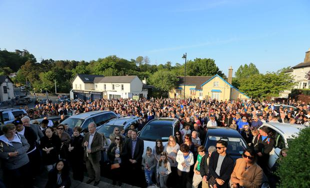 Crowds at the vigil for Jastine. Picture; Gerry Mooney