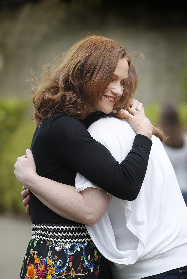 JOB DONE: Dr Rhona Mahony with her friend Maeve Eogan celebrating the result at the RDS. Photo: Arthur Carron