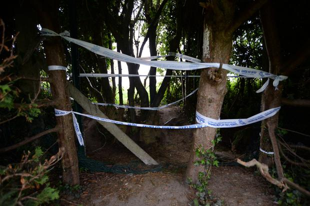 The entrance to the field where the body of Cameron Reilly was found. Picture: Caroline Quinn