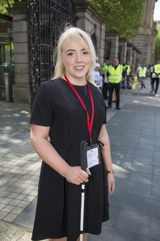 Jessica Ní Mhaoláin arriving at Leinster House yesterday for the Dáil Committee meeting on Disabilites. Photo: Colin O'Riordan
