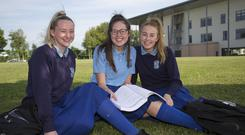 Megan Byrne and Jill McClinton of Malahide CS after their maths exam