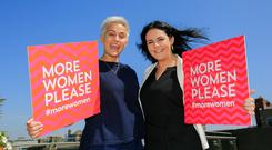 In awe of those in the firing line: Former Rose of Tralee Maria Walsh and Claire Tighe during a Women for Election training day in Dublin. Photo: Gareth Chaney