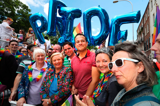 New friends: Leo Varadkar at last year's Dublin LGBTQ Pride march. Photo: Laura Hutton/PA