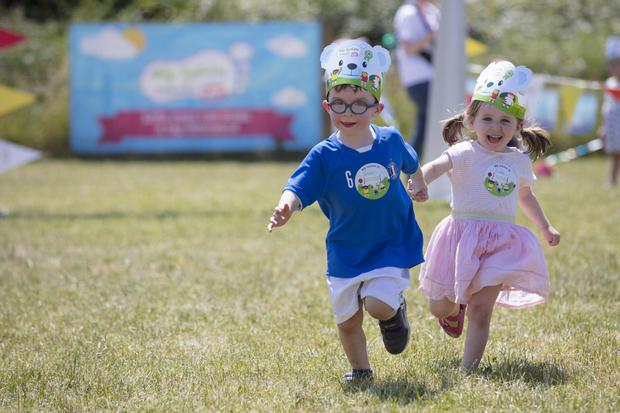 At the Big Toddle for Barnardos sponsored by Toddlebox.ie at Airfield House were Seren Doherty (4) and Fiadh Ward (3) © Patrick Bolger