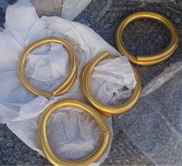 The prehistoric gold artefacts found in Donegal. Photo: Caroline Carr of the Donegal County Museum