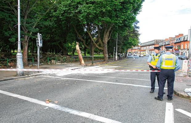 Gardaí at the scene of the fatal crash on the Clontarf Road/Malahide Road junction in Dublin. Photo Gareth Chaney/Collins