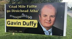 Gavin Duffy denied claims his posters in Drogheda were in poor taste