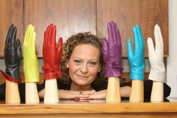 Rowan with a selection of gloves from her store in Dublin's Westbury Mall. Photo: Arthur Carron