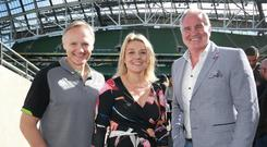 Fiona Tuomey with Ireland rugby coach Joe Schmidt and broadcaster Brent Pope at the launch of the Mental Health and Wellbeing Summit at the Aviva Stadium yesterday. Picture: Frank McGrath