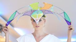 Katie models a headpiece designed by Margaret O'Connor and James O'Toole. Photos: Sasko Lazarov