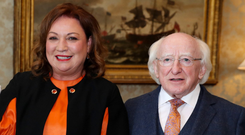 Impressed: Norah Casey with President Michael D Higgins