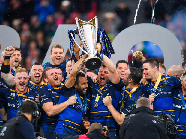 Victorious: The Leinster team in high spirits after beating Parisian side Racing 92 in the European Champions Cup final in Bilbao in May. Photo: Ramsey Cardy/Sportsfile