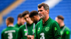 Latest in a line of bust ups: Roy Keane walks on the pitch in the Cardiff City Stadium prior to the game against Wales. Photo: Stephen McCarthy/Sportsfile