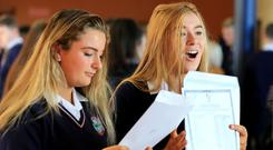 Results: Katelyn Knight and Saoirse Jones after receiving their results at Donabate Community College. Photo: Gerry Mooney